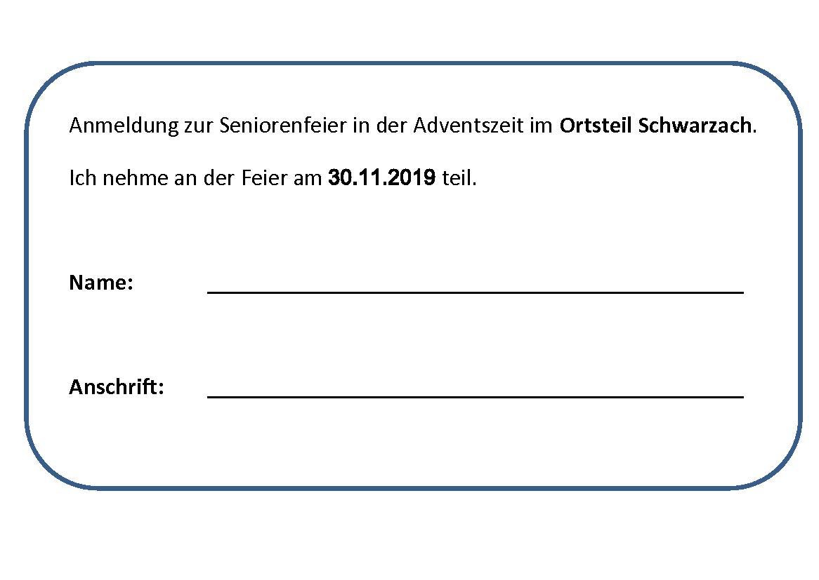 Anmeldung Seniorenfeier Schwarzach 2019